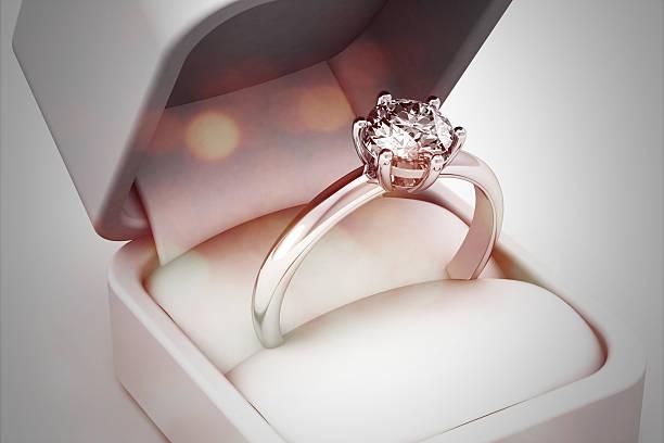 美しいジュエリーリング(high resolution 3 d image ) - 婚約 ストックフォトと画像