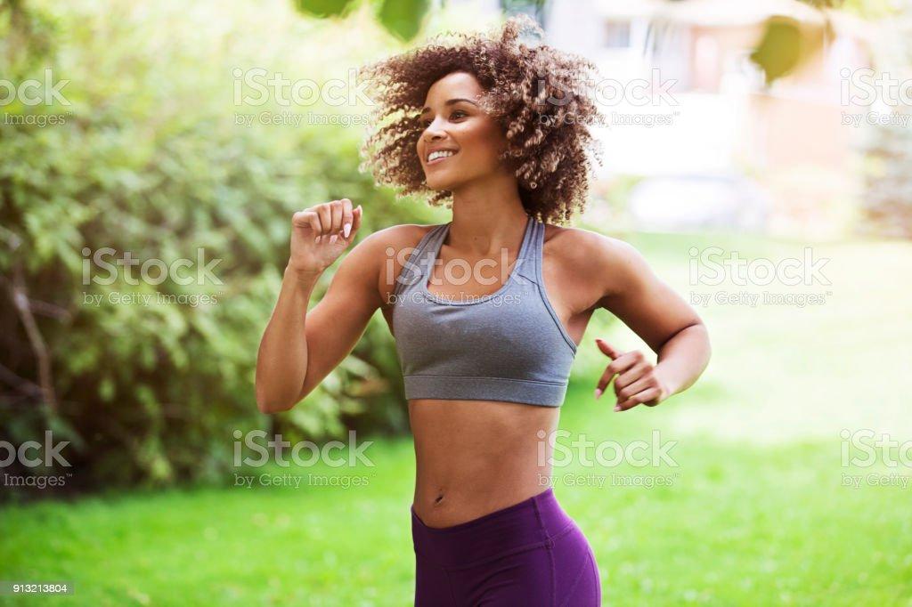 Beautiful Jogger Outdoors stock photo