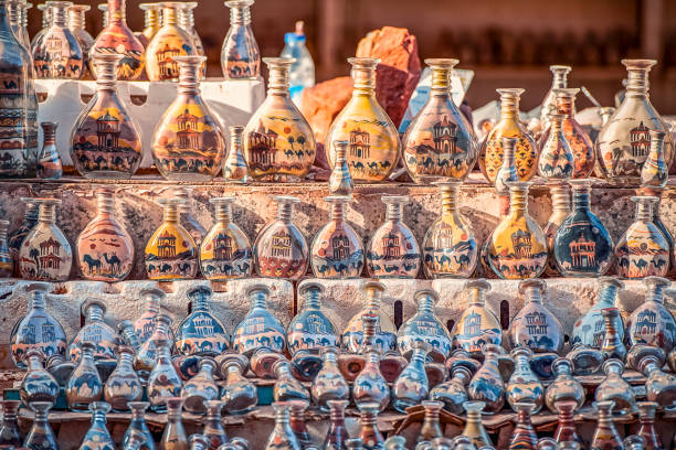 Beautiful Jordanian Souvenirs on a counter in the ancient city of Peter, Jordan - image stock photo
