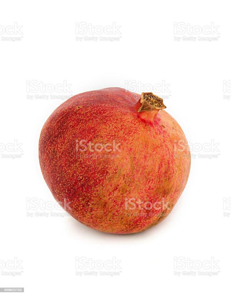 hermosa, jugosa, madura de Granada sobre fondo blanco, granate jugoso y brillante sin fondo, - Foto de stock de Agricultura libre de derechos