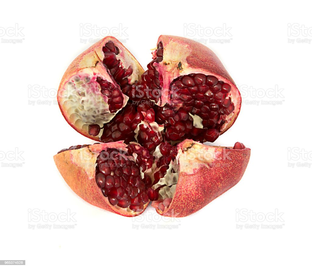 beautiful, juicy, ripe pomegranate on white background, juicy and bright Garnet without background, zbiór zdjęć royalty-free