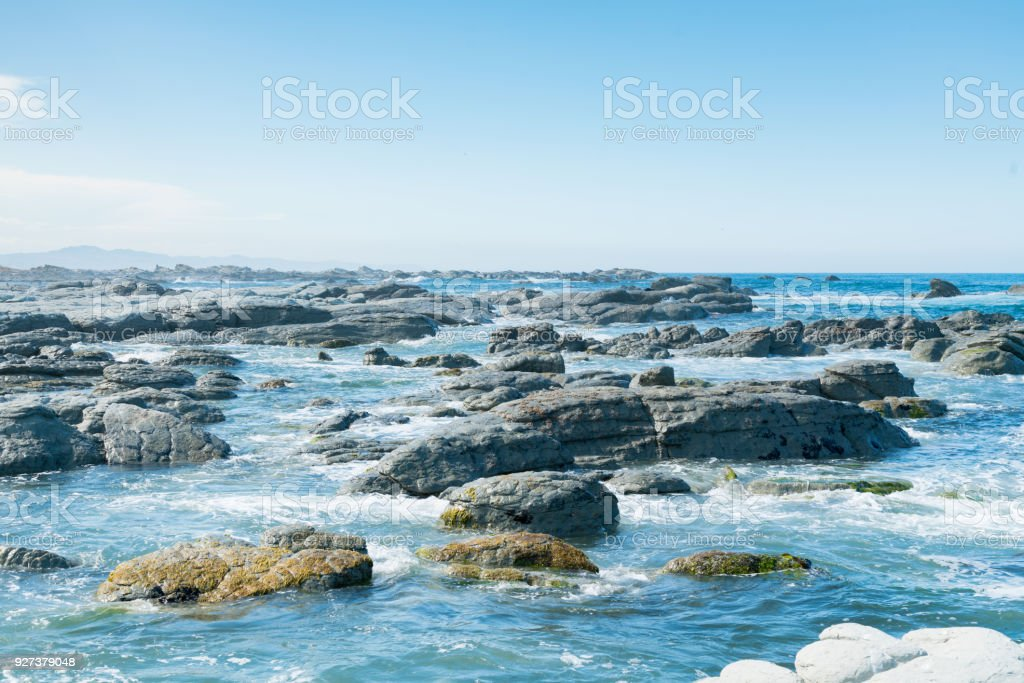 Beautiful Kaikoura beach East coast of South Island stock photo
