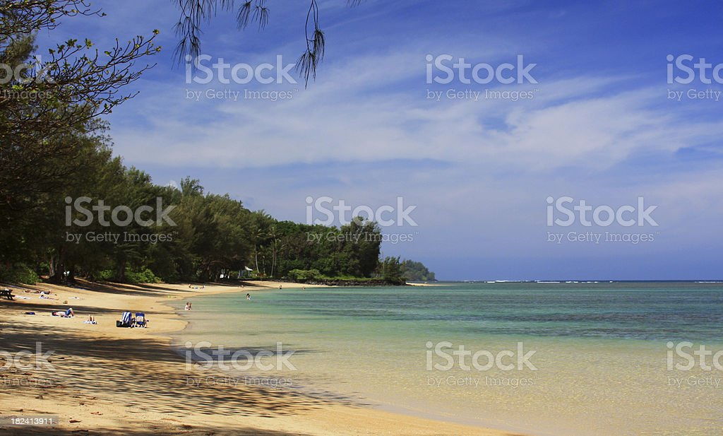 Beautiful Kauai Hawaii beach front resort panorama stock photo