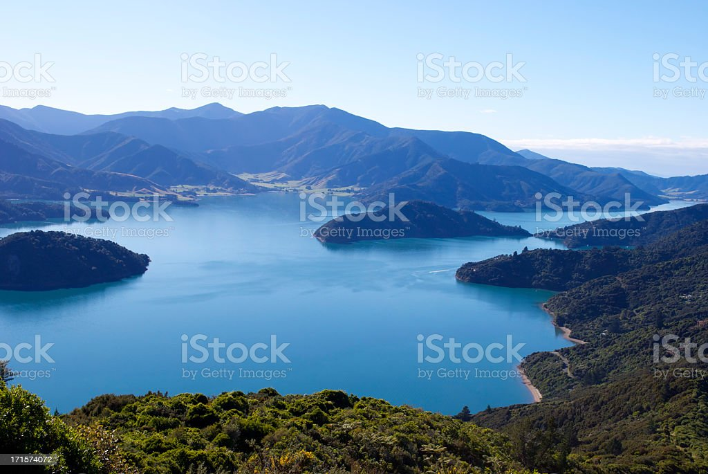 Beautiful Kenepuru Sound, Marlborough Sounds, New Zealand stock photo