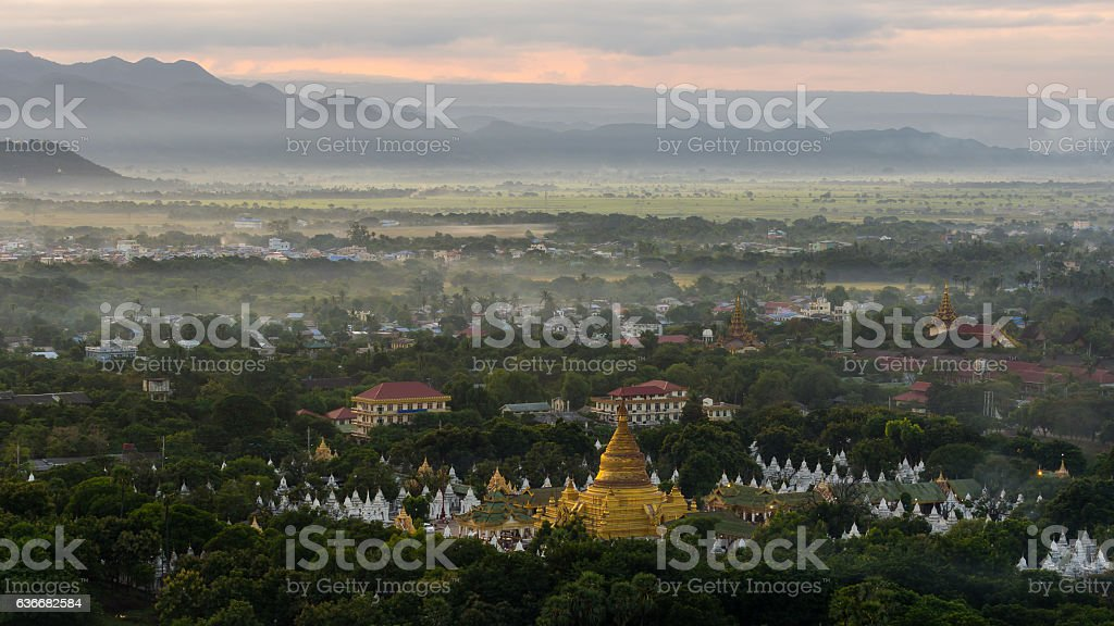 Beautiful Khuthodaw Pagoda in the morning view, Myanmar stock photo