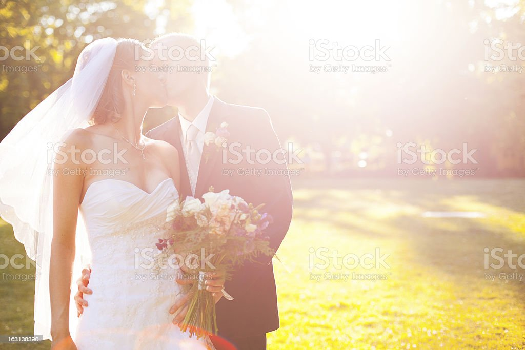 Beautiful Kissing Bride and Groom Outdoors Summer Portrait stock photo