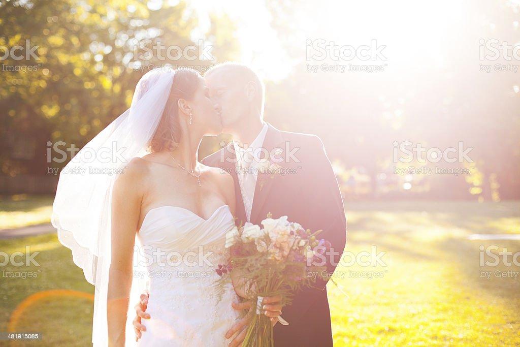 Beautiful Kissing Bride and Groom Summer Wedding Couple Portrait stock photo