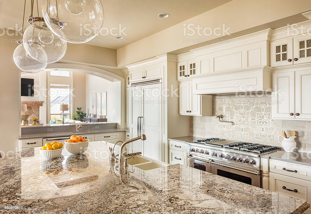 Beautiful Kitchen Countertop, Cabinets, and Island stock photo