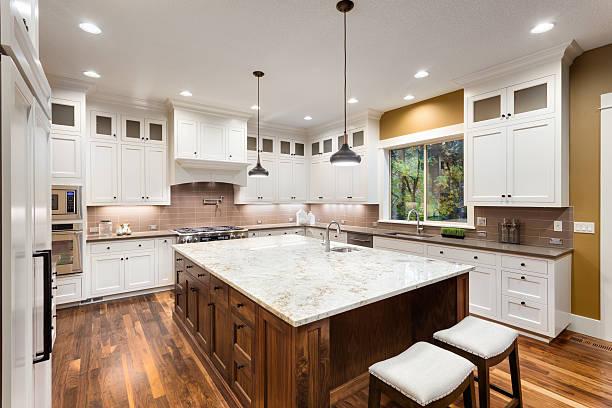 Beautiful Kitchen in Luxury Home stock photo