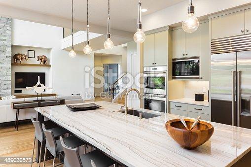istock Beautiful Kitchen in New Luxury Home 489036572