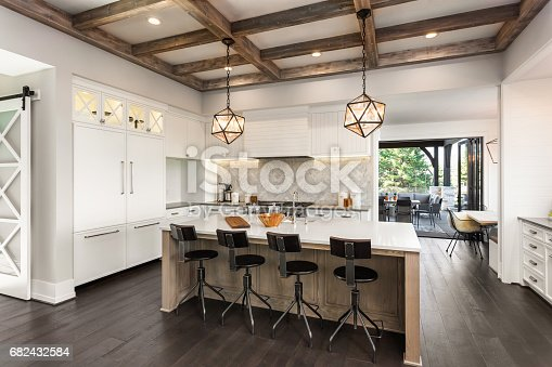 istock beautiful kitchen in new luxury home with island and pendant light fixtures 682432584