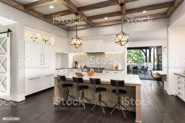 Beautiful kitchen in new luxury home with island and pendant light picture id682432584?b=1&k=6&m=682432584&s=612x612&h=kqmwe7rcc15b6hognw p hmrfkcu4iiezs2zoiv5oze=