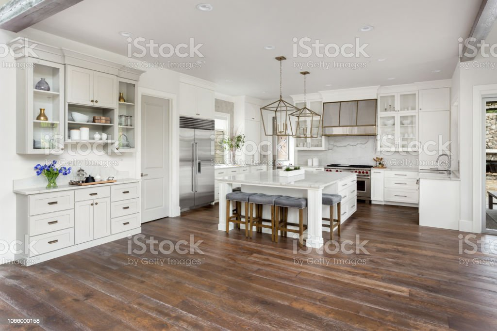 Beautiful Kitchen In New Luxury Home With Island Pendant ... on Luxury Farmhouse Kitchen  id=88435