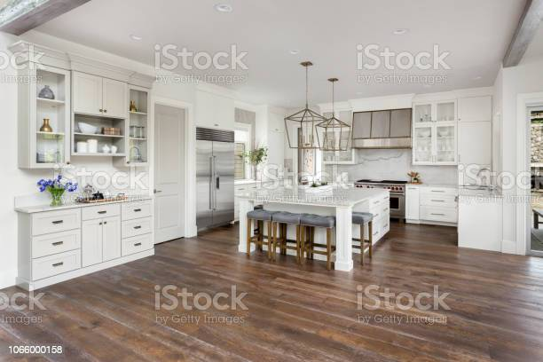 Beautiful kitchen in new luxury home with island pendant lights and picture id1066000158?b=1&k=6&m=1066000158&s=612x612&h=tu0lkskdvckgds0xzmtnrsbhh29zltm2plqbtutmc7y=