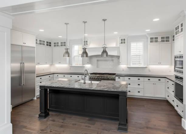 Beautiful kitchen in new luxury home with island pendant lights picture id972778820?b=1&k=6&m=972778820&s=612x612&w=0&h=knrrtr2nnqidpco231wvzjjz9ziahhzbdbprqiqrgie=