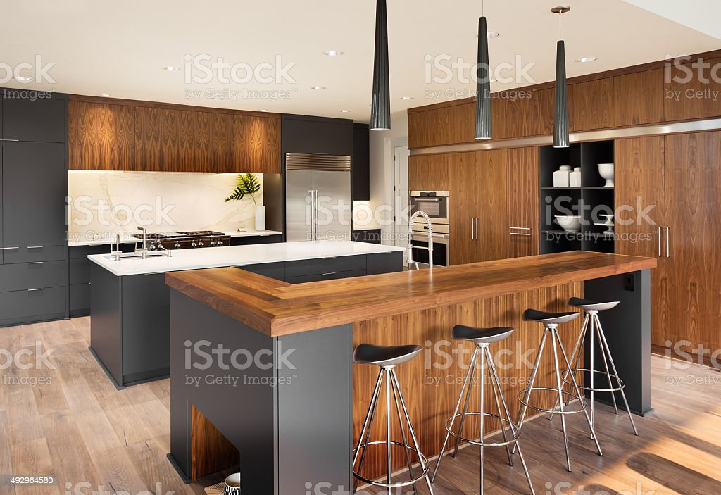 Beautiful Kitchen Interior  in Luxury Home stock photo