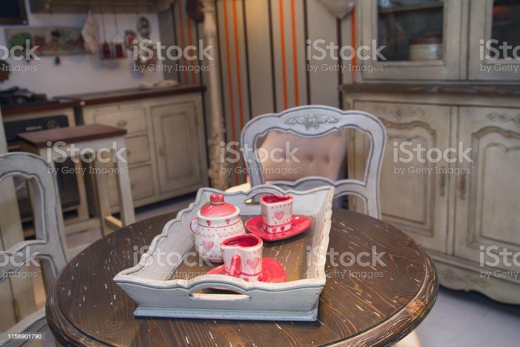 Precioso Interior De Cocina En Estilo Retro Mueble Foto de ...