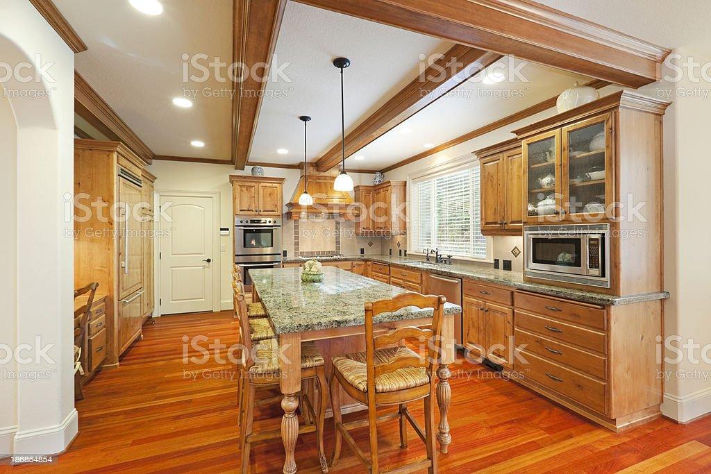 Beautiful Kitchen with Large Island royalty-free stock photo