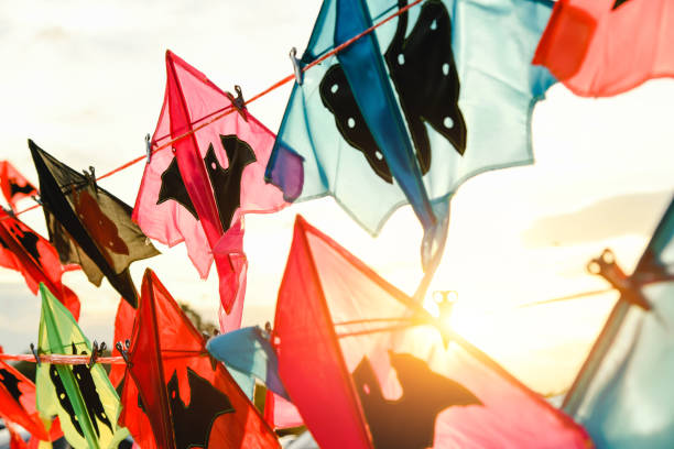beautiful kites in a kite festival - film festival stock photos and pictures