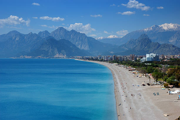 Beautiful Konyaalti beach in Antalya, Turkey stock photo