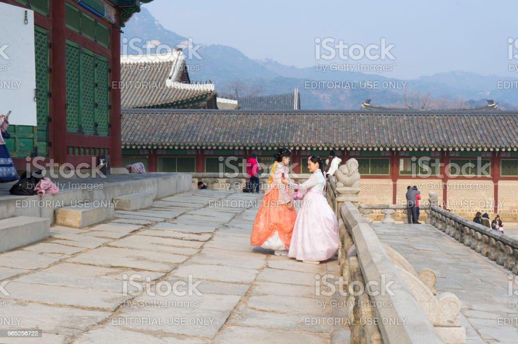 Beautiful Korean girl in Hanbok dresses in Gyeongbokgung Palace in Seoul zbiór zdjęć royalty-free