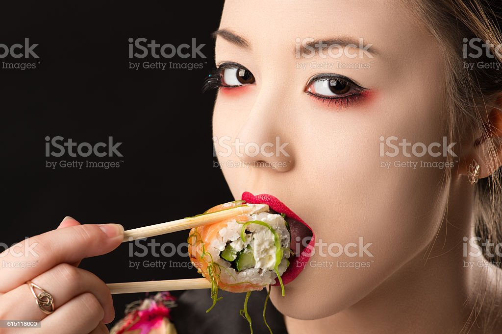 Beautiful Korean Teenager Girl With Bright Makeup Eating Sushi Stock 11269768bff3a