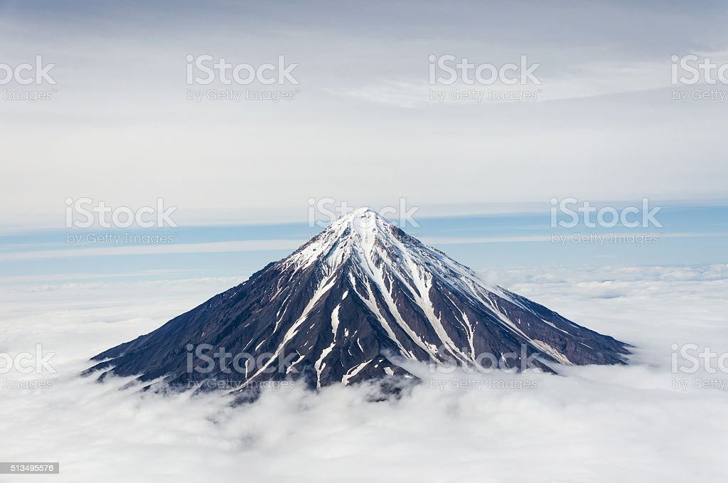 Beautiful Koryaksky volcano in Kamchatka stock photo