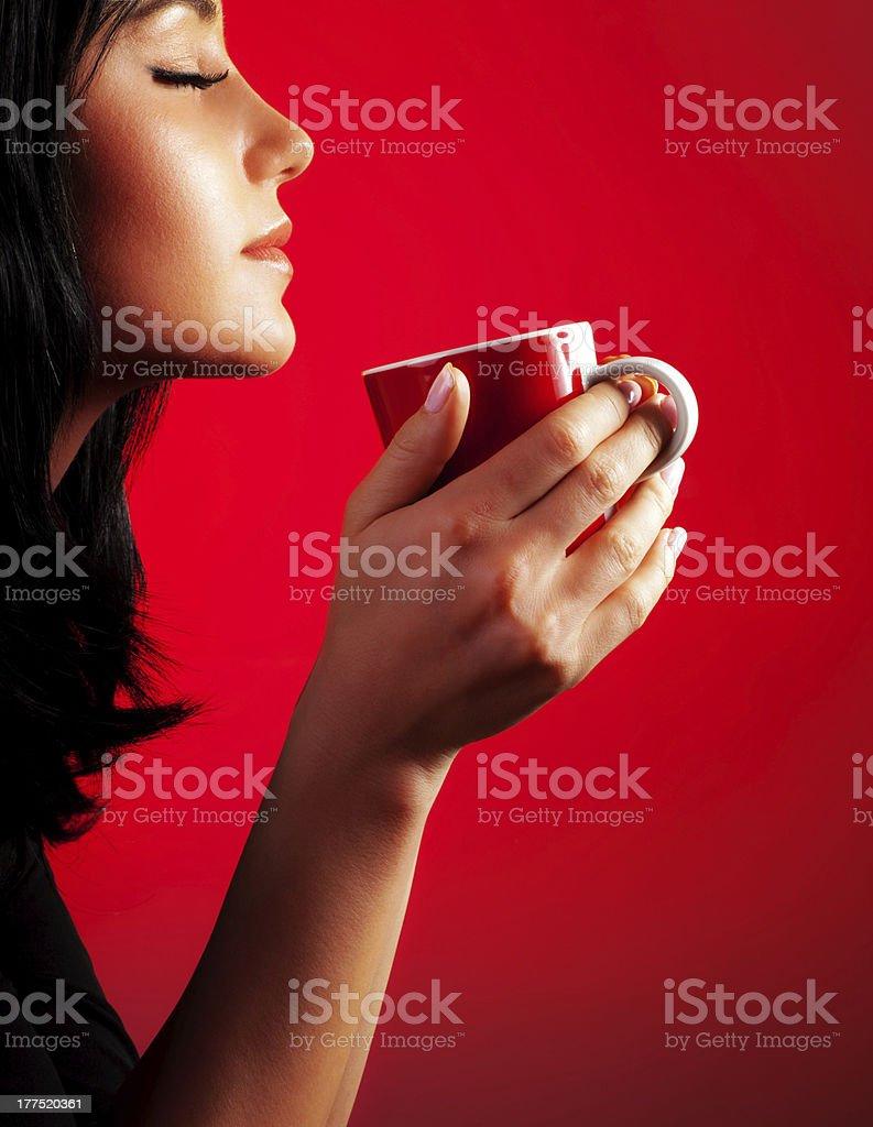 Beautiful lady drinking coffee royalty-free stock photo