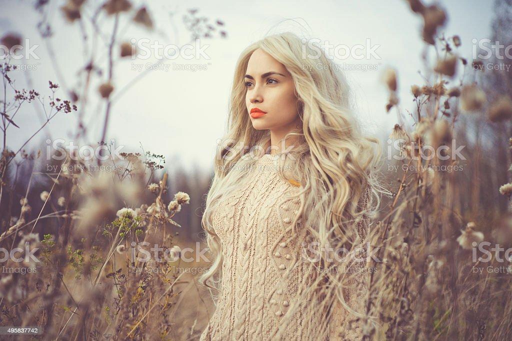 Beautiful lady in autumn landscape stock photo