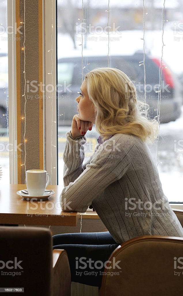 Beautiful lady in cafe royalty-free stock photo