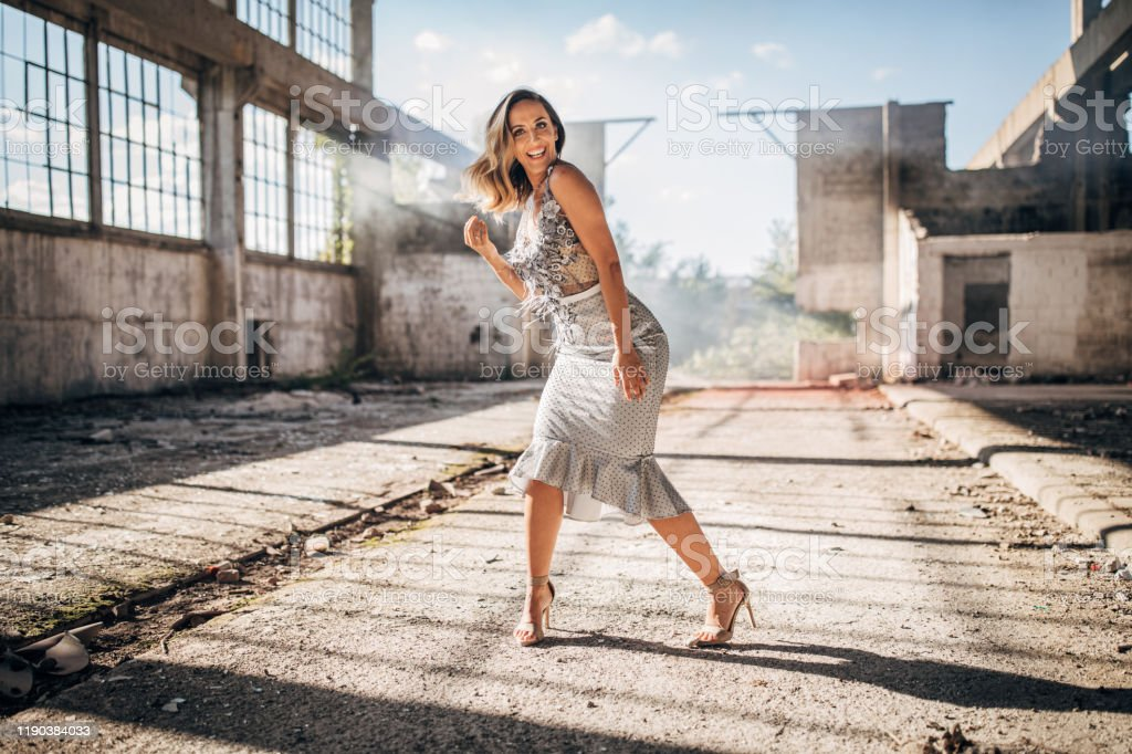 Beautiful Lady In Elegant Dress In Abandoned Building Stock Photo Download Image Now Istock