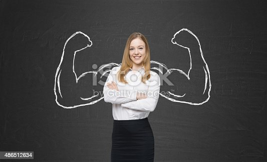 istock beautiful lady in formal clothes with drawn powerful hands 486512634