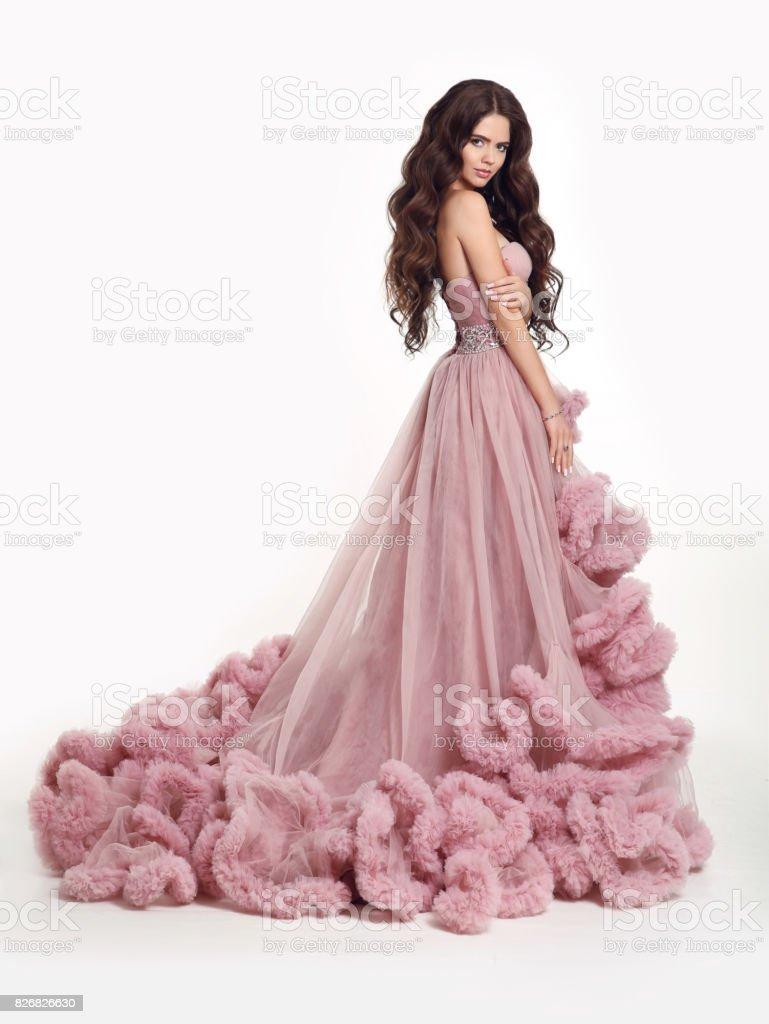 Fotografía de Señora Hermosa En Vestido Rosa Exuberante Lujo Mujer ...