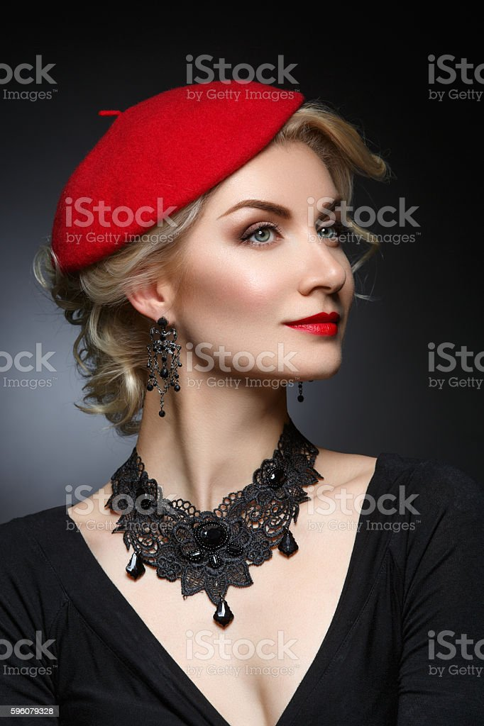 Beautiful lady in red beret royalty-free stock photo