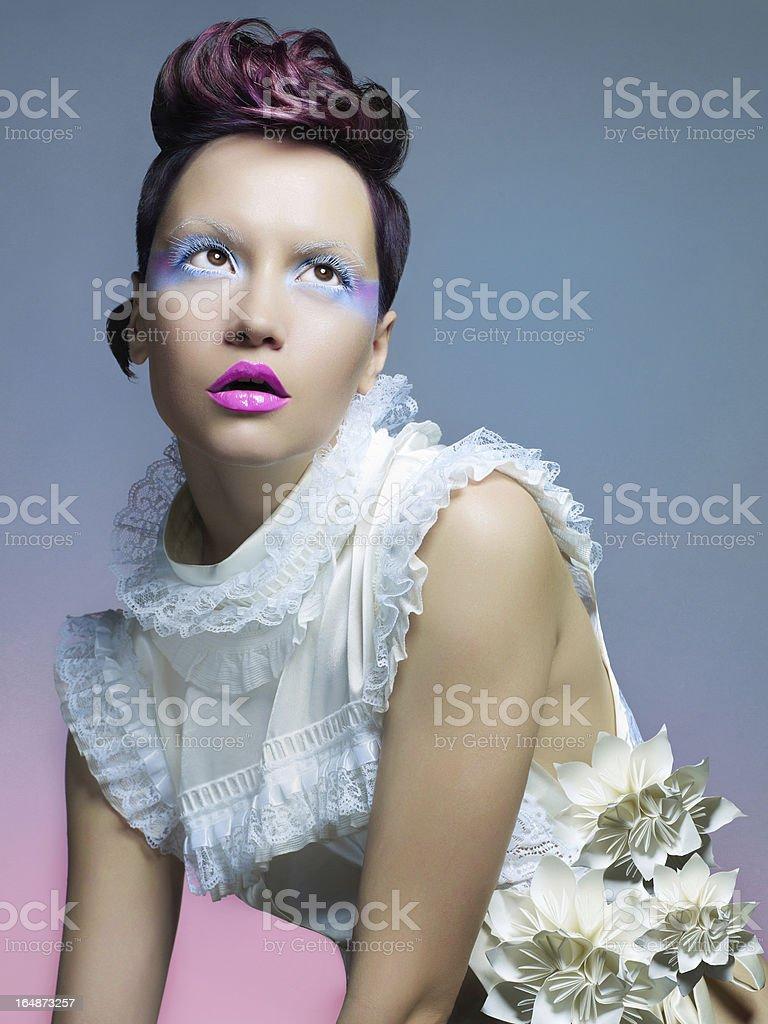 Beautiful lady in white dress stock photo