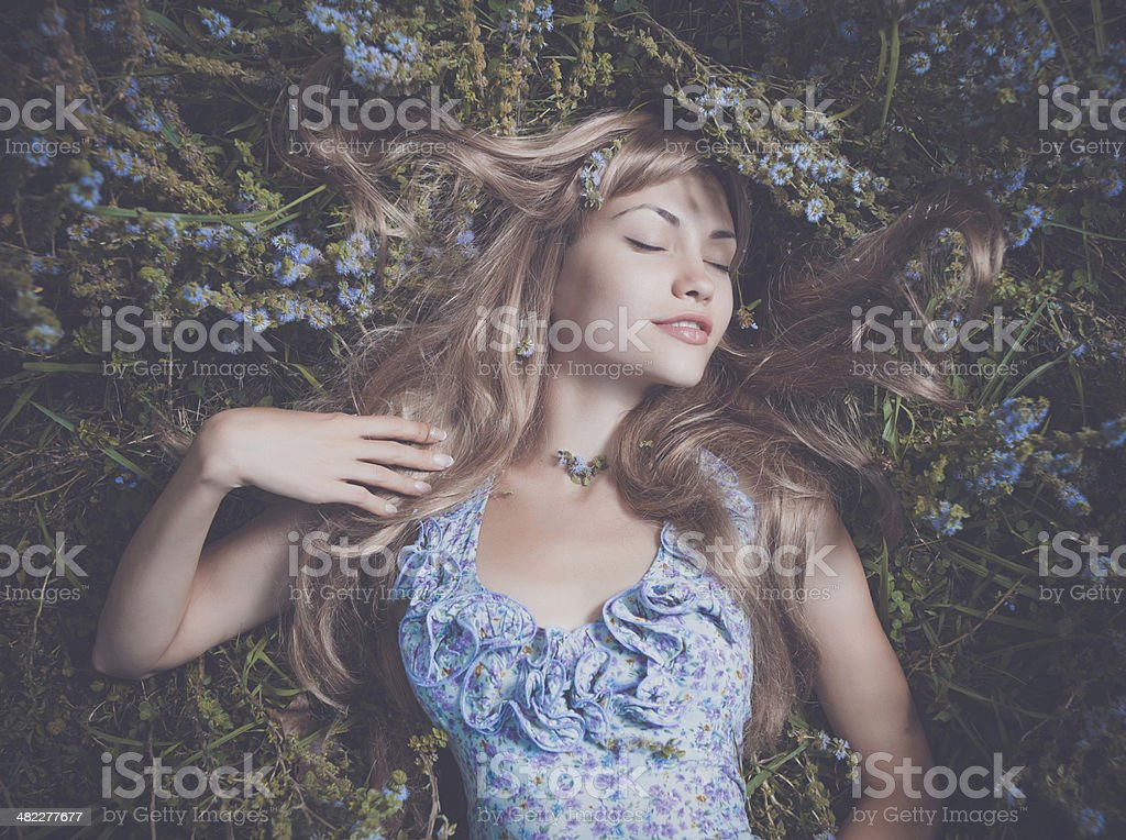 Beautiful lady lying amond flowers stock photo