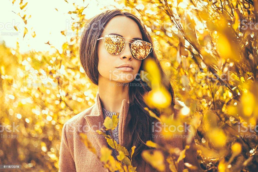 Beautiful lady surrounded autumn leaves stock photo
