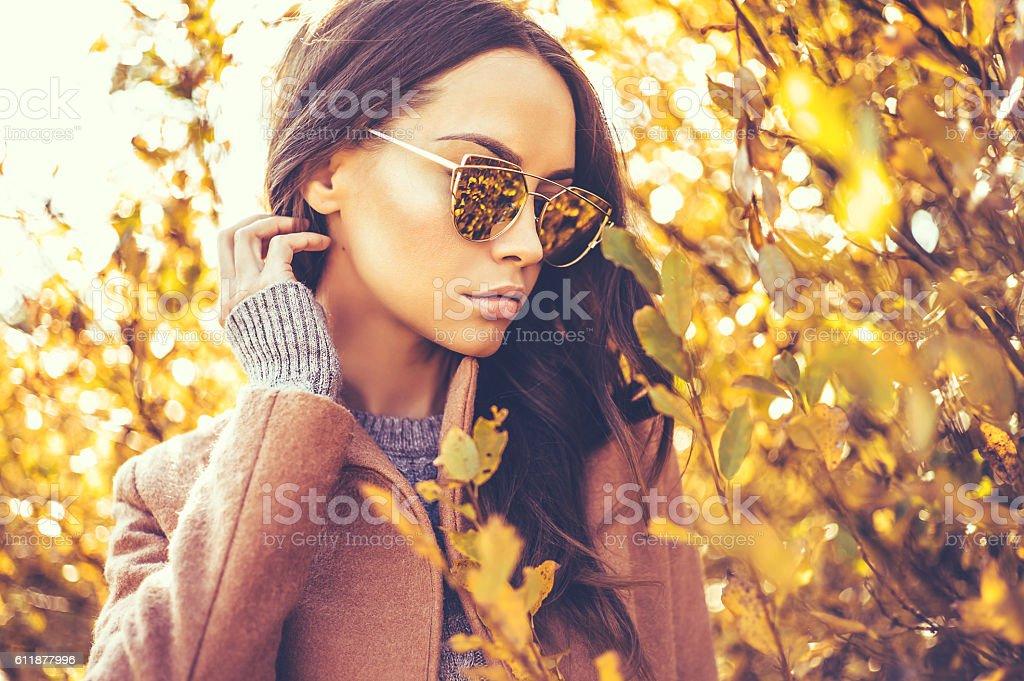 秋の葉に囲まれた美しい女性 ストックフォト