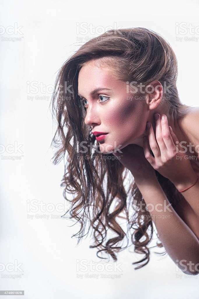 beautiful lady with a pleasant face stock photo