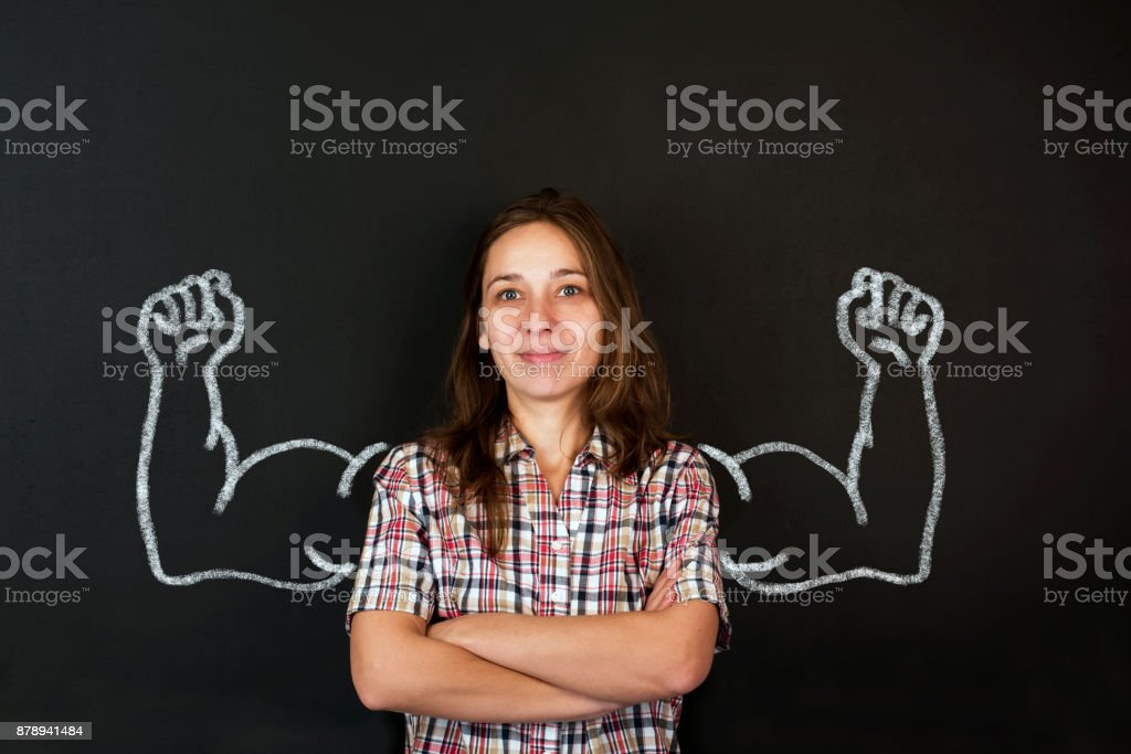 Beautiful lady with drawn powerful hands stock photo