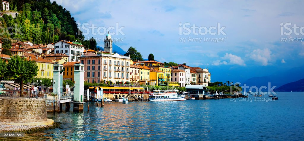 beautiful Lago di Como - panorama of Bellagio town. North of Italy stock photo
