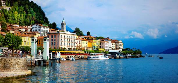 beautiful lago di como - panorama of bellagio town. north of italy - lake como stock photos and pictures