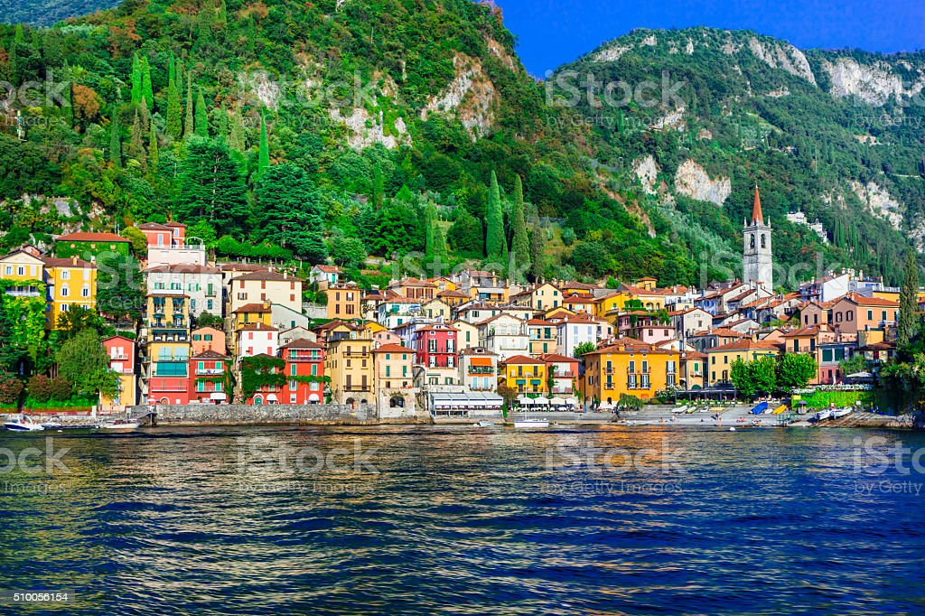 beautiful  Lago di Como - pictorial Varenna vilage stock photo