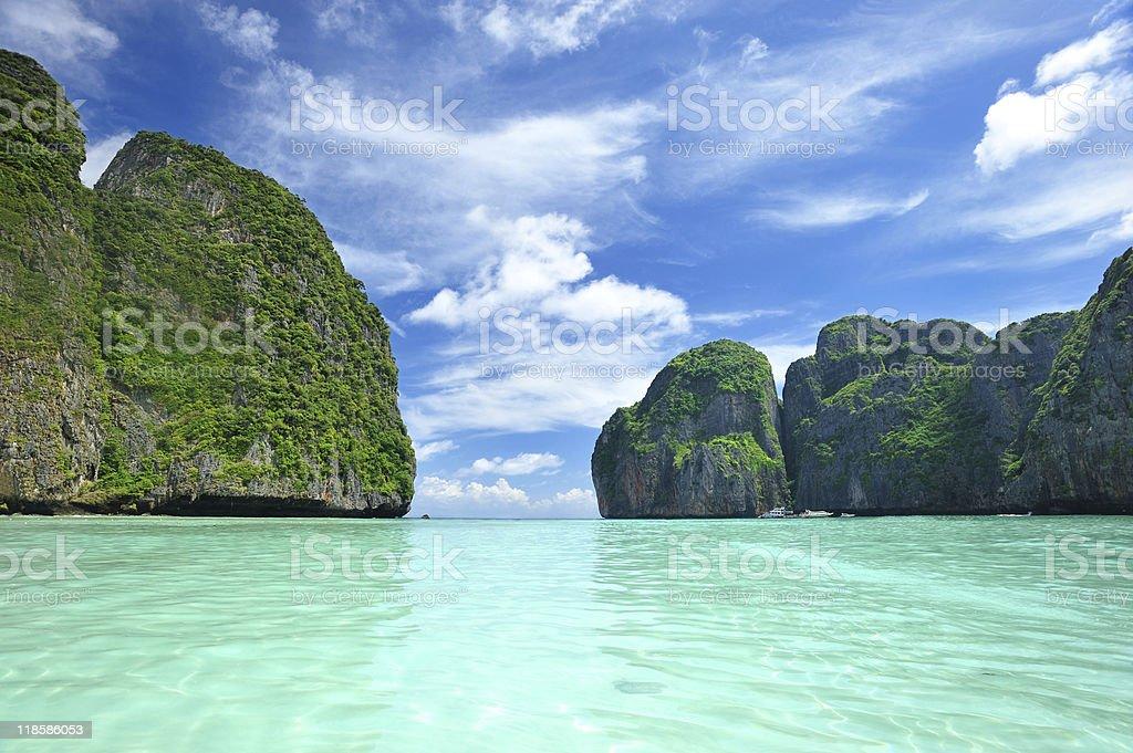 Beautiful lagoon at the Phi Phi Ley island stock photo