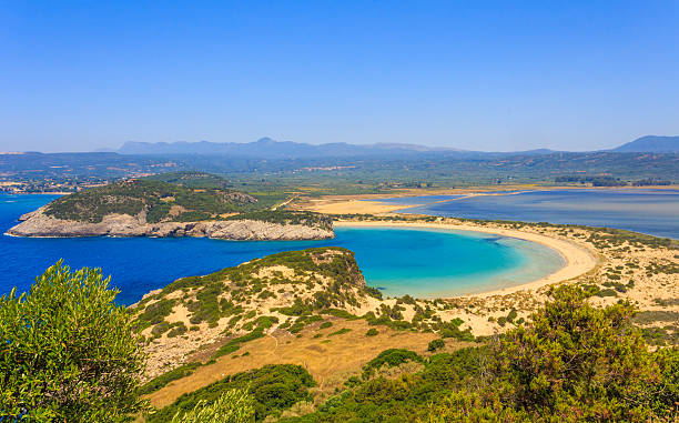 Beautiful lagoon of Voidokilia from a high point view stock photo