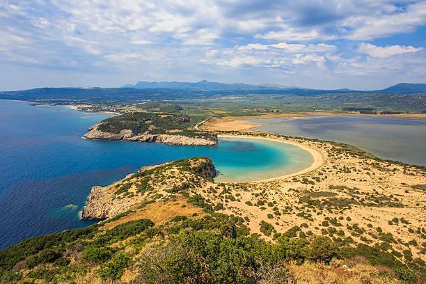 Beautiful lagoon of Voidokilia, Greece stock photo