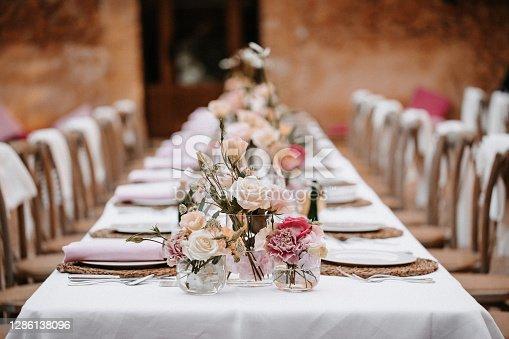Beautiful laid boho wedding banquet table in Majorca