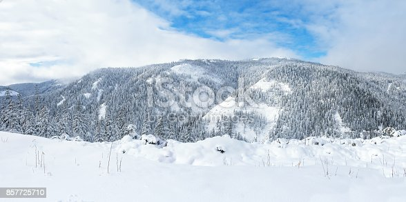 Beautiful Lake Amut In Taiga Hills On Far East Of Russia Early October Mountain Winter Nature Snowy Weather Stock Photo