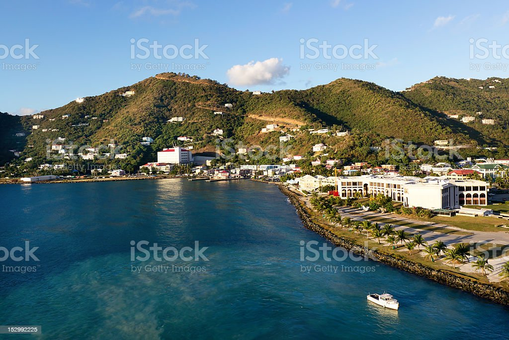 Beautiful lake and mountain view of Tortola stock photo
