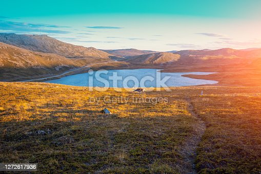 Beautiful lake at sunset. Wild nature of Norway. Nordkapp, Mageroya island